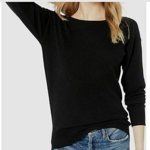 Trina Turk Black Long-Sleeve Boat Neck Sweater